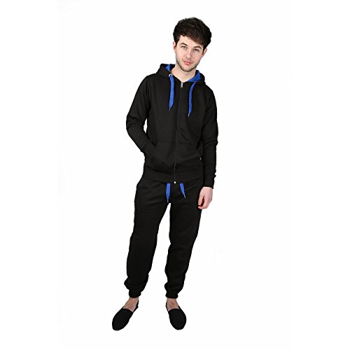 d9280f6ed28c Malaika® Mens Full Zip Up Contrast Cord Brushed Fleece Tracksuit Hoodie  Jogging Joggers Gym Suit - Available in Plus Sizes (Small to XXXXXL)