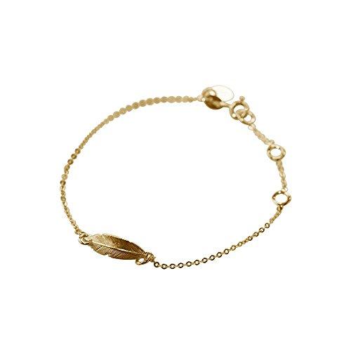 bracelet plume en vermeil jaune