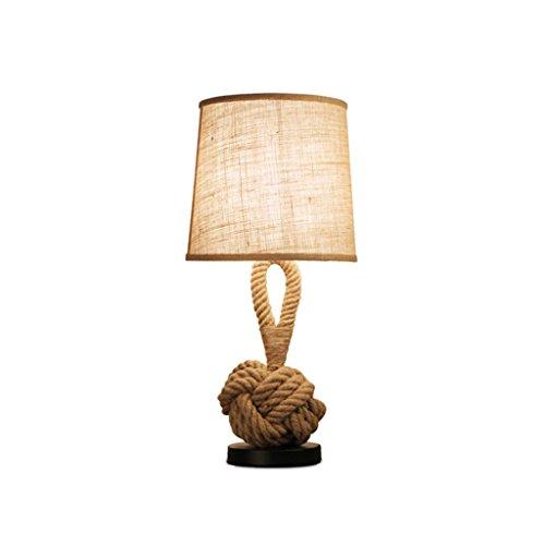 60 Cm Wide Ceramic (LQQGXL Table lamp creative hemp retro lamp study living room bedroom bedside table E27 Simple lamp)
