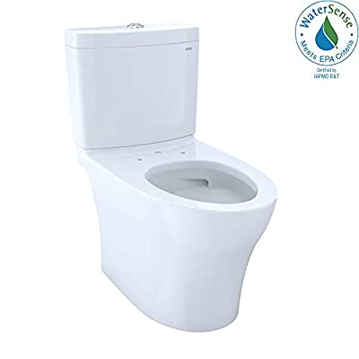 TOTO CST446CEMG#01 Aquia IV WASHLET Elongated Dual Flush 1.28 and 0.8 GPF Skirted CeFiONtect, White-CST446CEMG Two-Piece Toilet, Cotton White