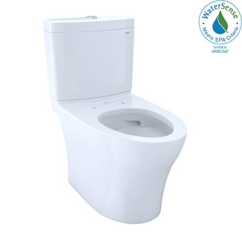 TOTO CST446CUMG#01 Aquia IV 1G Elongated Dual Flush 1.0 and 0.8 GPF Skirted CEFIONTECT two-piece-toilets, Cotton White