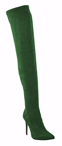 Green Velveteen CAMSSOO High Women's Thigh Stiletto Boots Heel Pointy Dark Side Toe Zipper PwFrxP7qY