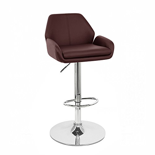 "Set of 2 Tesla Contemporary ""Leather"" Adjustable Barstool – Espresso Review"