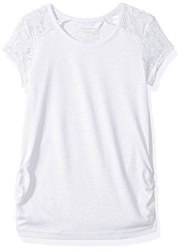 French Toast Big Girls' Short Sleeve Lace Shoulder Tee, White, 14/16 (Girls Top)