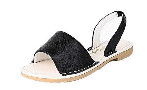 VogueZone009 Women Low-Heels Pull-On Open-Toe Sandals,CCALP015635 Black
