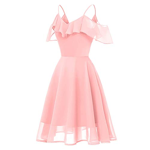 Robe de Cocktail Robe Swing Plage Aline paule Retro Printemps Longue Marie Vintage Off Ete Femme Courte Princesse b Rose Col en Partie Boheme Vintage Beachwear Chic Robe Guesspower V USx144