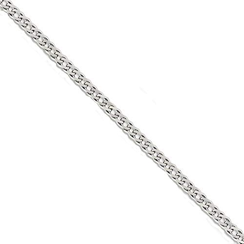 Q Gold Sterling Silver 4.25mm Double 6 Side Diamond Cut Flat Link Curb Chain
