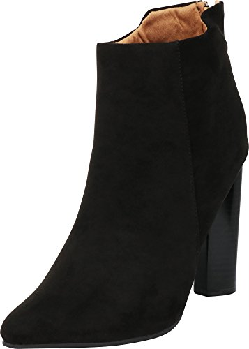 Cambridge Select Women's Closed Pointed Toe Chunky Stacked Heel Ankle Bootie Black Imsu