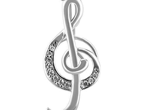 925 Sterling Silver Necklace Pendant Women Jewelry Elegant Music Note Shaped Charms Pendant for Office Lady - Akoya Pearl Brooch