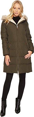 LAUREN Ralph Lauren Womens Faux Leather Trim Hooded Down w/ Berber Litchfield Loden SM One (Berber Coat)