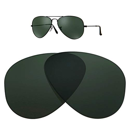 (HEYDEFO Replacement Glass Lenses for Ray-Ban Aviator RB3025 58mm for Men for Women,UV Protection,Green Classic G-15)