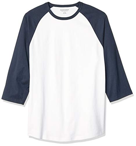 Amazon Essentials Men's Regular-Fit 3/4 Sleeve Baseball T-Shirt, Navy/White, Medium