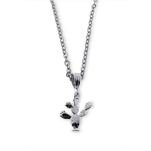 Cactus Pendant - 18 Inch Stainless Steel Rolo Chain Necklace - 316 L Silver Plated