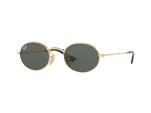 Ray-Ban Metal Unisex Oval Sunglasses, Gold, 53 - Lenses Ban Oval Ray Flat