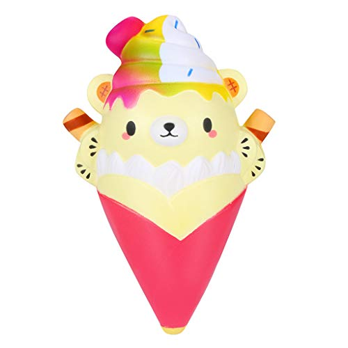 Jieson Squishies Toy Cartoon Ice Cream Bear - Kawaii Cream Scented Squishies Very Slow Rising Kids Toys Doll GIF - Collection Stress Relief Toys - Decorative Decompression Squeeze Props (Hot -