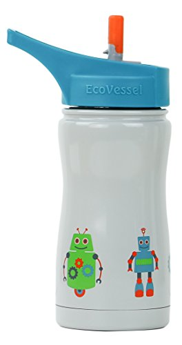 EcoVessel FROST Kid's Triple Insulated Stainless Steel Water Bottle with Flip Straw Top - 13 Ounces - Frost Blue