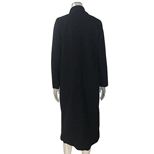 Women Coat Clothes JSPOYOU Solid Color Lapel Pocket Woolen Winter Long Parka Jacket Cardigan Overcoat Outwear by JSPOYOU (Image #6)