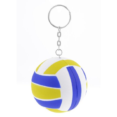 Yellow White Blue 6cm Dia Volleyball Decor Link Chain Keyring