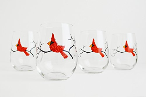 Cardinal Wine Glasses, Set of Four Stemless Christmas Glasses, Holiday Hosting, Red Bird Glassware For Sale