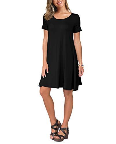 KORSIS Women's Summer Casual T Shirt Dresses Swing Dress Black M