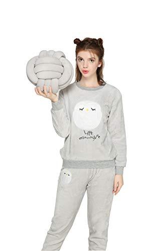 Coofig Womens Long Sleeve Pajamas Set,Warm Cute Flannel Suit Cartoon Thick Sleepwear, Home Nightwear Girls Home Clothing