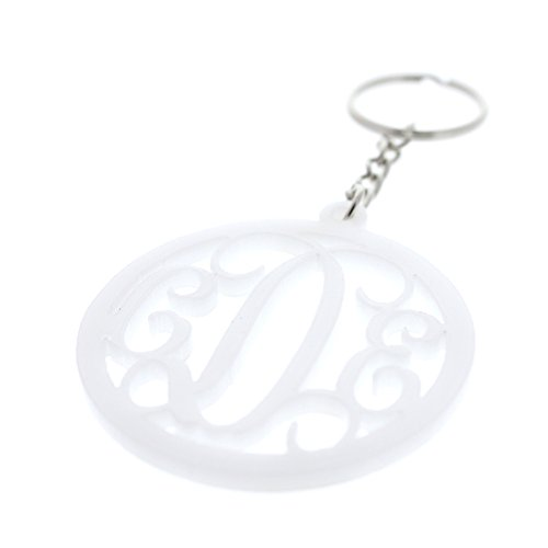 Personalized Monogram Keychain With Initials Acyrlic Laser Cut Custom Keychain Solid White