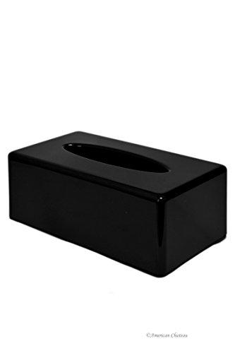 Black Acrylic Rectangular Kleenex Tissue Dispenser Box Cover Holder