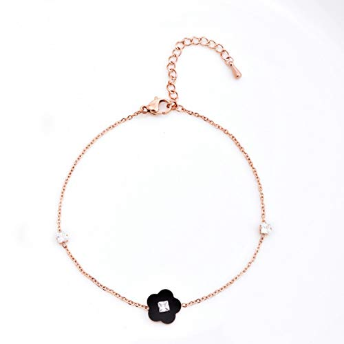 CTRCHUJIAN Japanese and Korean Fashion Four-Leaf Clover Anklet Female Titanium Steel Hypoallergenic Diamond Beach Chain Simple Foot Ring ()