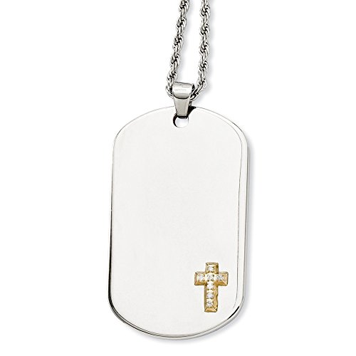 - Stainless Steel Polished Engravable Fancy Lobster Closure and 14k With Diamonds Cross Dog Tag Pendant 24inch Necklace - 24 Inch