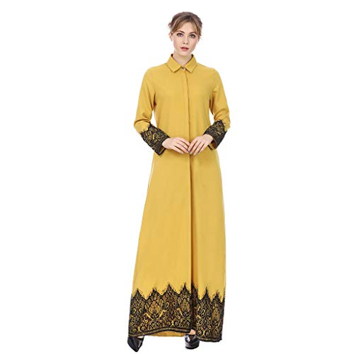 Women Front Full Buckle Slim Fit Lace Maxi Dress Muslim Retro Ethnic Style Print Embroidery Casual Loose Fit Long Coat (XL, Yellow)