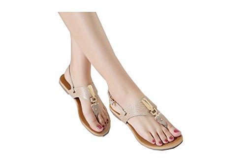De las mujeres chancletas Zapatos de sandalia De la hebilla de metal Europa estilos albaricoque