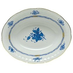 (Herend Chinese Bouquet Blue Oval Vegetable Dish )