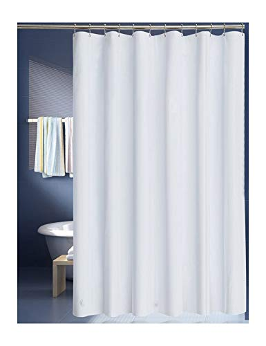 LanMeng Solid White Fabric Shower Curtain Liner, Mildew-Free Water-Repellent (72-by-72 inch, White (Fabric))