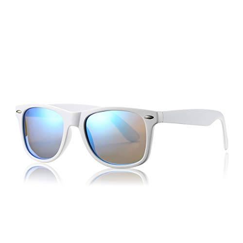 - AZORB Classic Polarized Sunglasses Unisex Square Horn Rimmed Design (White/Blue Mirrored, 53)