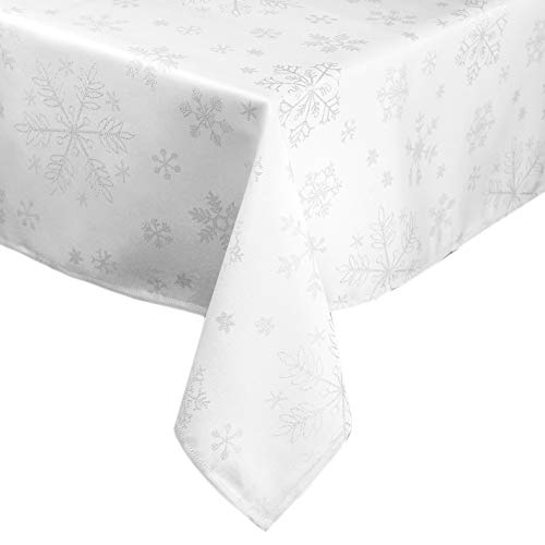 Lavin Holiday Tablecloth 104 Inch, Rectangle Table Cover Polyester Smooth Fabric Washable Durable Edge Finished Perfect for Winter, Twinkle Snowflakes, Silver/White, 60x104 Inch