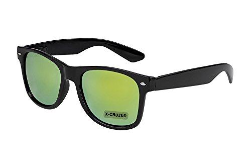 X-CRUZE® 8-030 Nerd Sonnenbrille Style Stil Retro Vintage Retro Unisex Herren Damen Männer Frauen Brille Nerdbrille - schwarz und grün-gelb verspiegelt