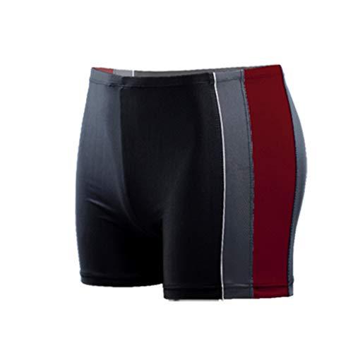 Men's Short Swim Trunks Quick Dry Beach Stripe Running Swimming Watershort Swimsuit - Solid Square Leg, Endurance (5XL, Red)
