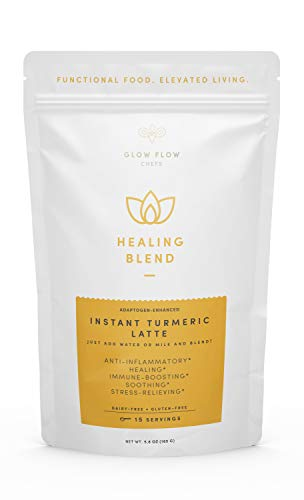 Organic Instant Turmeric Latte Powder with Adaptogens (Reishi, Ashwagandha, Astragalus) for Immune Support & Decreasing Inflammation. Vegan, Paleo, Keto-friendly, No Added Sugar. 15 Servings (Tumeric)