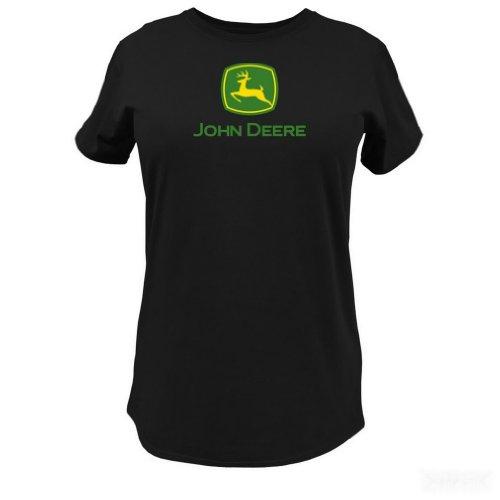John Deere Logo T-Shirt - Women's - Black, Large (Deere Ladies John Shirt)