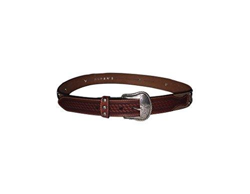 (Roper Western Belt Mens Basket Weave Studs Leather 38 Brown 8588500)
