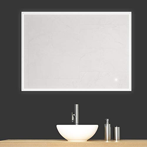 Gatesea 800x600mm LED Lighted Bathroom Mirror Wall Mounted Anti-fog + Touch Switch -