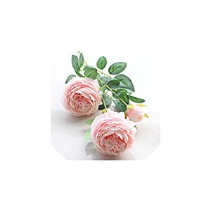 V-K-YA 5 Pcs Rose Artificial Flowers 3 Heads White Peonies Silk Flowers Home Wedding Decor,B 23