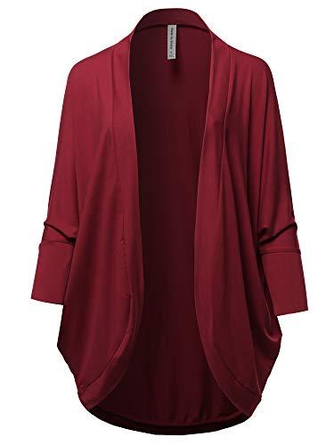 Premium 3/4 Sleeve Loose Cocoon Open Front Pocket Cardigan Cabernet L