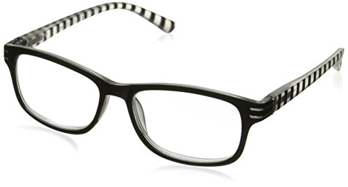 Sight Station Women's Evelyn 1016322-150.COM Rectangular Reading Glasses, Black/White, - 2017 Fashion Glasses