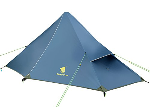 GEERTOP 1-person 3-season 20D Ultralight Pyramid Backpacking Tent For Camping Hiking Climbing (Pole NOT included) (Iron Blue, Inner tent) For Sale