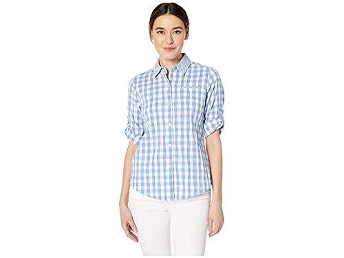 - Foxcroft Women's Petite Reese Crinkle Gingham Shirt, Perfect peri 2P