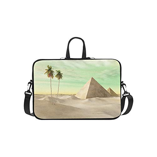 Pyramids in The Desert with Palm Trees Pattern Briefcase Laptop Bag Messenger Shoulder Work Bag Crossbody Handbag for Business - Zip Stud Pyramid