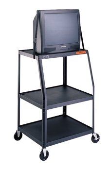 """UPC 717068358560, Da-Lite 48"""" High Unassembled Black Wide Base Adjustable Cart with 22"""" x 32"""" Shelf, 4"""" Casters and Electrical Assembly"""