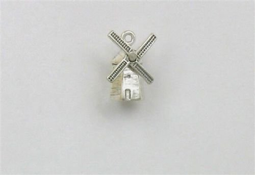Sterling Silver 3-D Dutch Windmill Charm - Jewelry Accessories Key Chain Bracelet Necklace Pendants ()