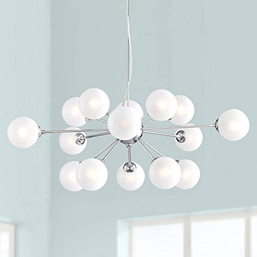 Ramona Chrome Sputnik Large Chandelier 32 Wide Modern Mid Century Frosted Glass LED 15-Light Fixture for Dining Room House Foyer Kitchen Island Entryway Bedroom Living Room – Possini Euro Design